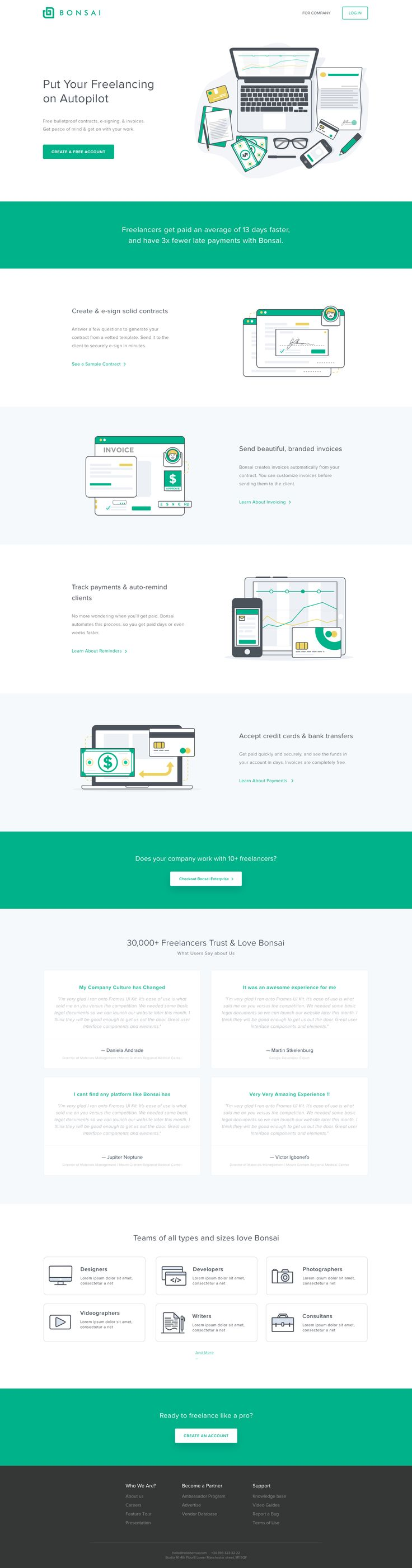 Working With Rizky For New Bonsai Freelancer Landing Page. Find This Pin  And More On Web Design Inspiration ...