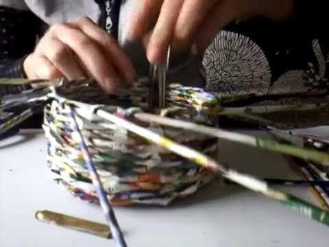 fin du panier Tuto Eco Vannerie en papier : - YouTube
