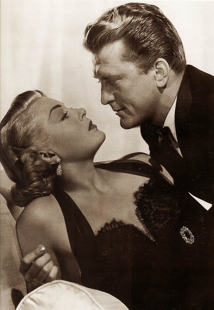 "Lana Turner & Kirk Douglas promotional sitting for ""The Bad & The Beautiful""."