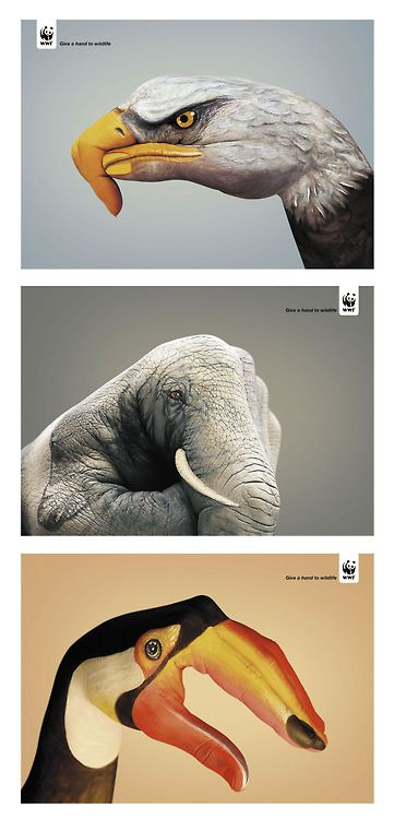 "I like this because it is a good play on words.   The animal that needs help is being portrayed with a hand.  The slogan is ""Give a Hand to Wildlife"". I am a fan of wordplay."