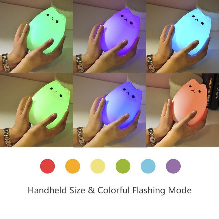 Cute Kitty LED Children Night Light Nursery Lamp Sensitive Tap Control 7 Color #branded