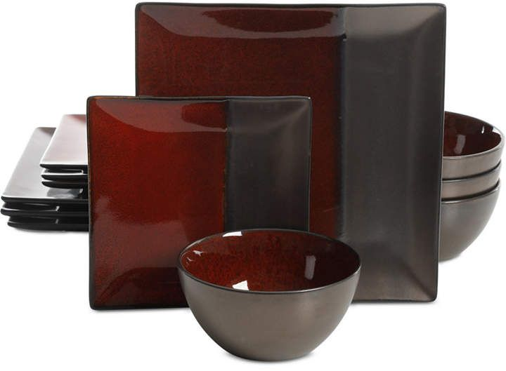 Gibson Elite Decadence Red 12 Pc Dinnerware Set Service For 4