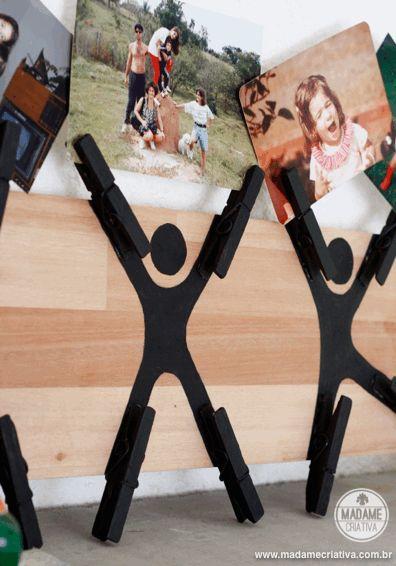 Como fazer mural com materiais recicláveis - Porta retrato criativo feito com prendedor (molas) de roupas e madeira pintada