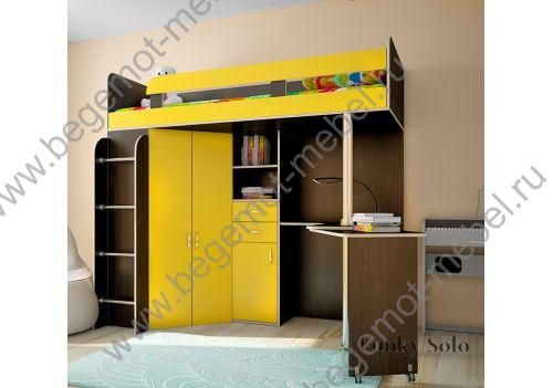 Детская мебель - моноблоки / Кровать чердак Фанки Кидз :: Детская кровать чердак Фанки Соло 2. Спальное место 200х80 см