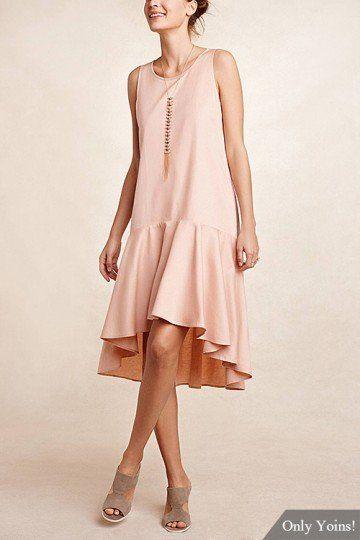 Dropwaist High Low Hem Midi Dress - US$8.99 -YOINS