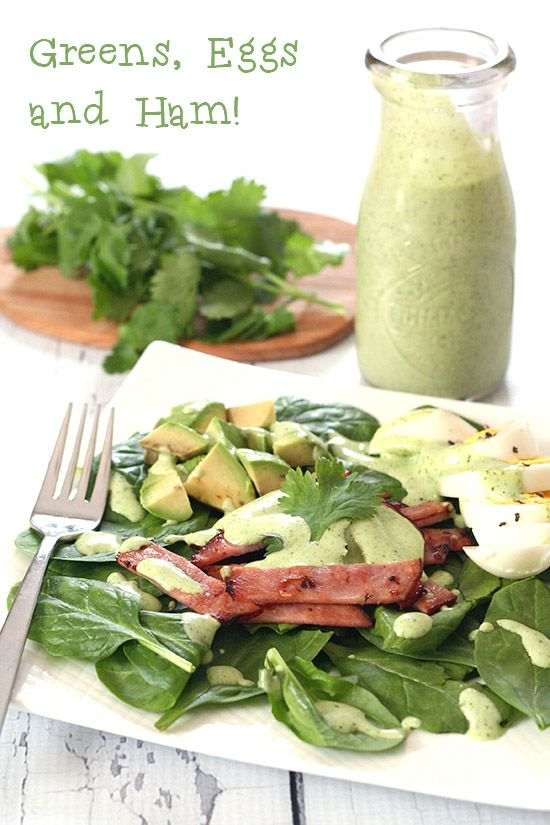 A delicious low carb salad with spinach, eggs, ham and cilantro ranch dressing. Keto and paleo-friendly