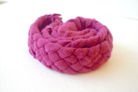 Braided Jersey Headband, Pink / Fuchsia from Up-Cycled T-shirts, $10.00 #recycled @beccajcampbell