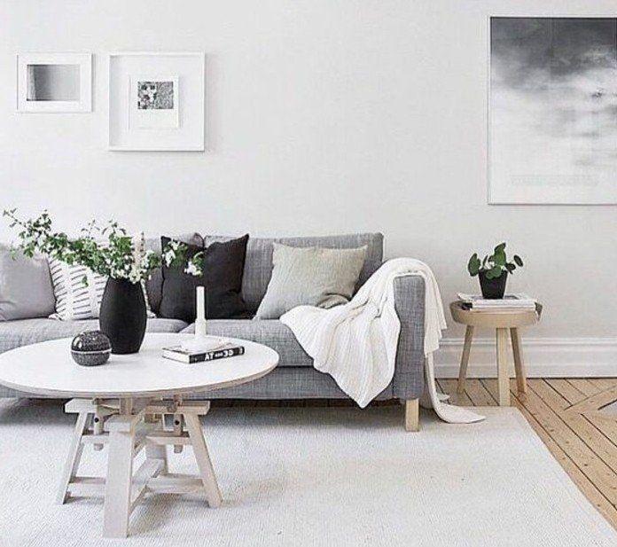 Deco salon blanc combinée avec un canapé gris parquet en bois style simple