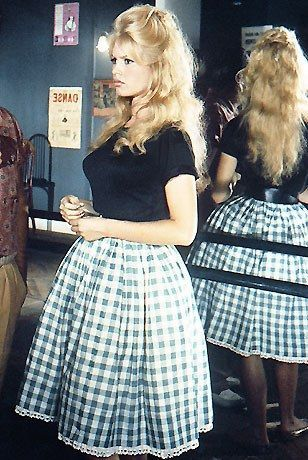 Brigitte Bardot's Vichy gingham skirt. Inspiration for Alexis Mabille's Spring 2013 RTW collection.