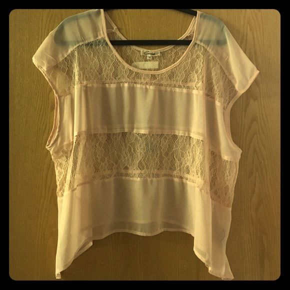 Shear pink lace top Shear pink lace short sleeved top. Looks great over a bandeau or tank top, great piece for spring or summer! Cecico Tops Blouses