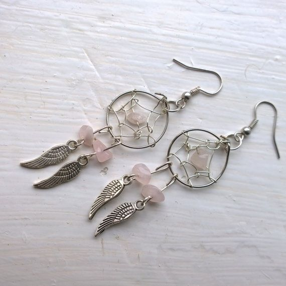 Dreamcatcher Earrings with Rose Quartz gemstones.  ♥ Silver feather charms.  ♥ In Native American culture it is believed that a dream catcher