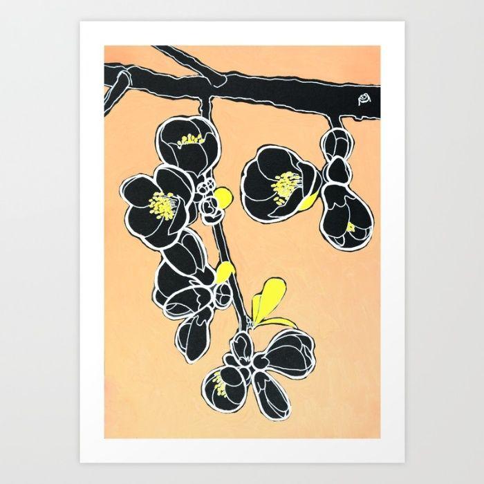 flower branch Art Print by Alexandra Calin | Society6