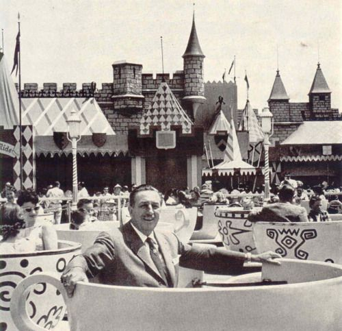 on the Teacups, Disneyland's opening day, July 17, 1955