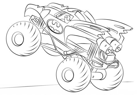 Batman monster truck coloring page from monster truck for Immagini di blaze