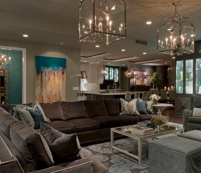 Brown, sea foam, turquoise. Lighting, seating arrangement