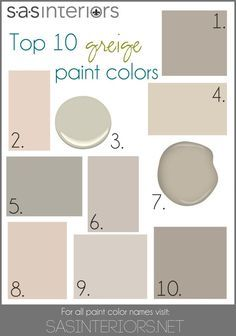 Top 10 Greige Paint Colors for Walls!  Designer Advice: If you want a neutral wall color, go with Greige!  It's the perfect combo of warm + cool tones. www.JennaBurger.com