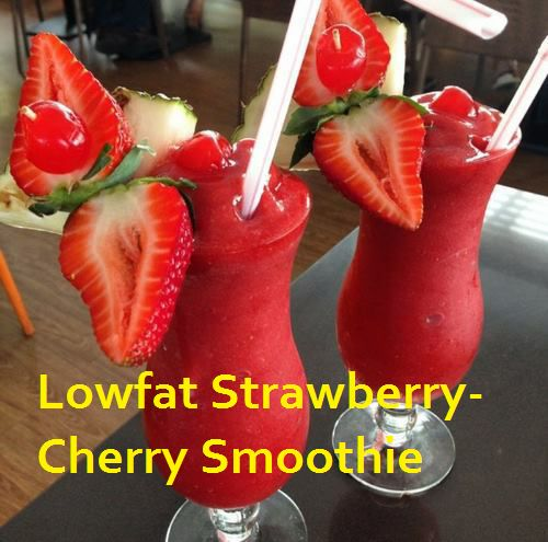 Healthy Smoothies For Weight Loss - Lowfat Strawberry Cherry Smoothie - with really cute garnishes! #lowfat #cherry #smoothie