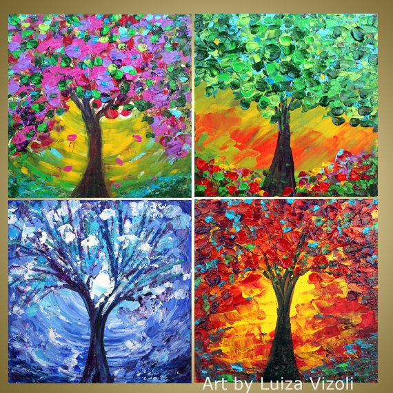 Original Modern Painting COLORS of the SEASONS by LUIZAVIZOLI