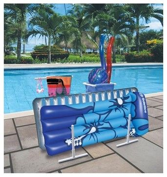 Pool toy caddy : http://www.houzz.com/photos/1042005/Raft-Caddy-with-Hangers-tropical-swimming-pools-and-spas-