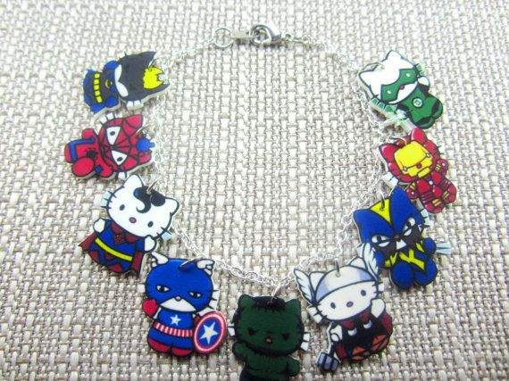 Hello Kitty Superheroes Charm Bracelet- Batman, Spiderman, Superman, Captain America, Hulk, Thor, Wolverine, Iron Man, Green Lantern on Etsy, $16.50