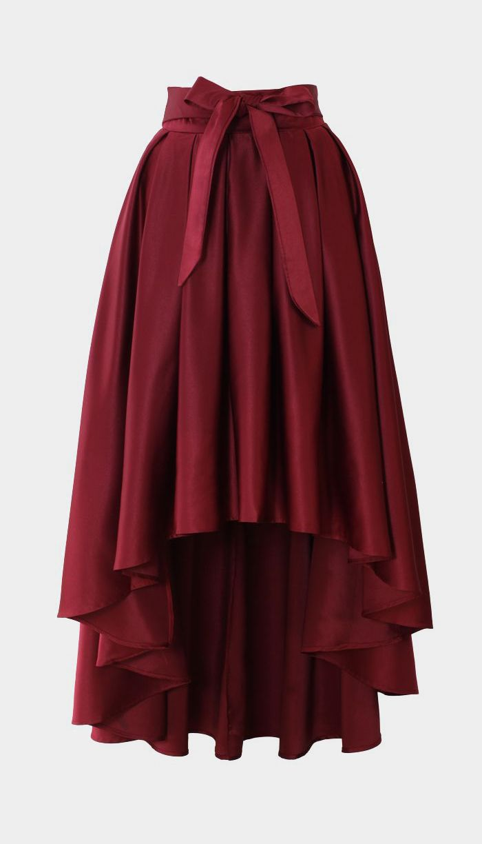 Bowknot Asymmetric Waterfall Skirt in Wine Red