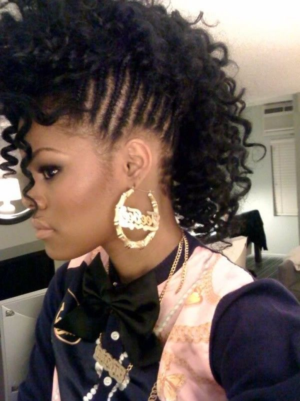 Braided Mohawk Updos For Black Women Style In Hair Womens Hairstyles Hair Styles Braided Mohawk Hairstyles