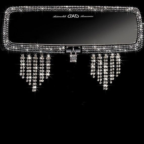 Bling Car Rear View Mirror Crystal Tassels Pendants - Carsoda - 1