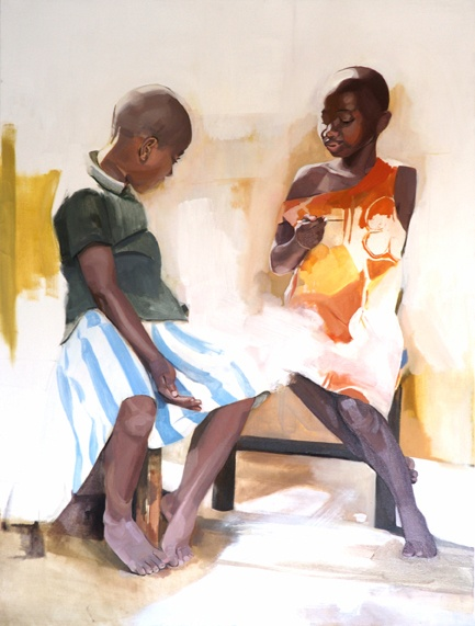 Congo Series, Larissa Doll, Girls, Oil on Canvas,136cm x 180cm, 2006