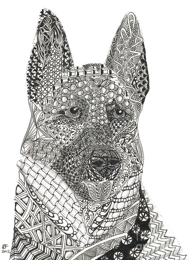 Tangled German Shepherd Coloring Portrait And Search