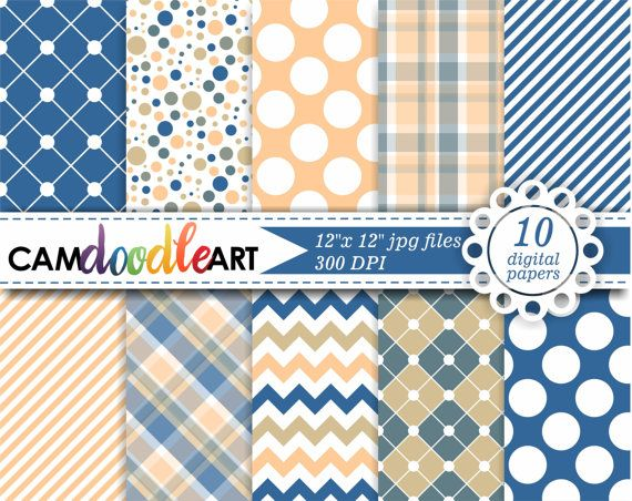 Digital Paper Pack Bahama Blue and Caramel Digital by CamDoodleArt