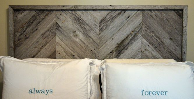 DIY project: headboard with chevron stripe pattern. Made from old barn wood but any wood will do!