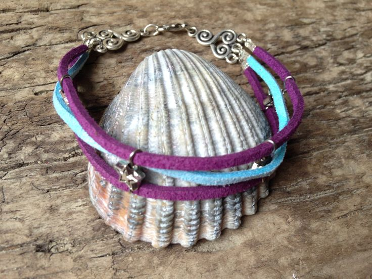 Handmade Bracelet made from Baby Blue and Purple Suede Leather with Tibetan touch by EffyBuu on Etsy