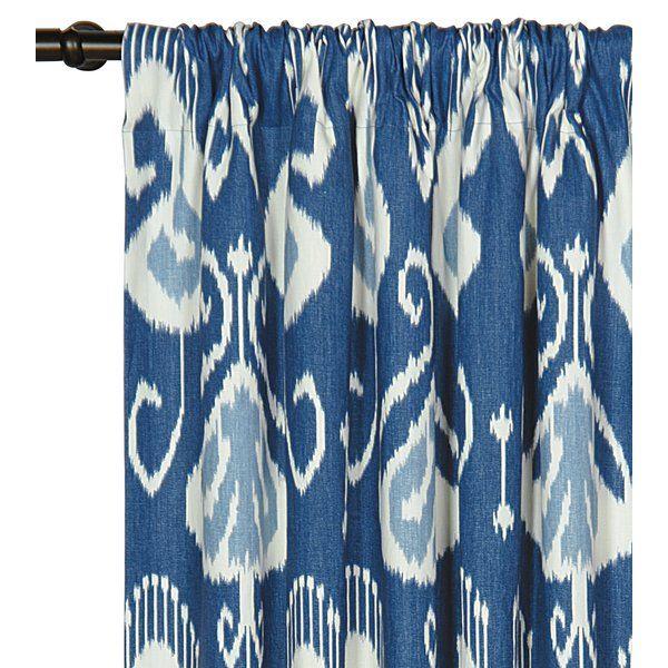 Ceylon 100 Cotton Ikat Rod Pocket Single Curtain Panel Ikat