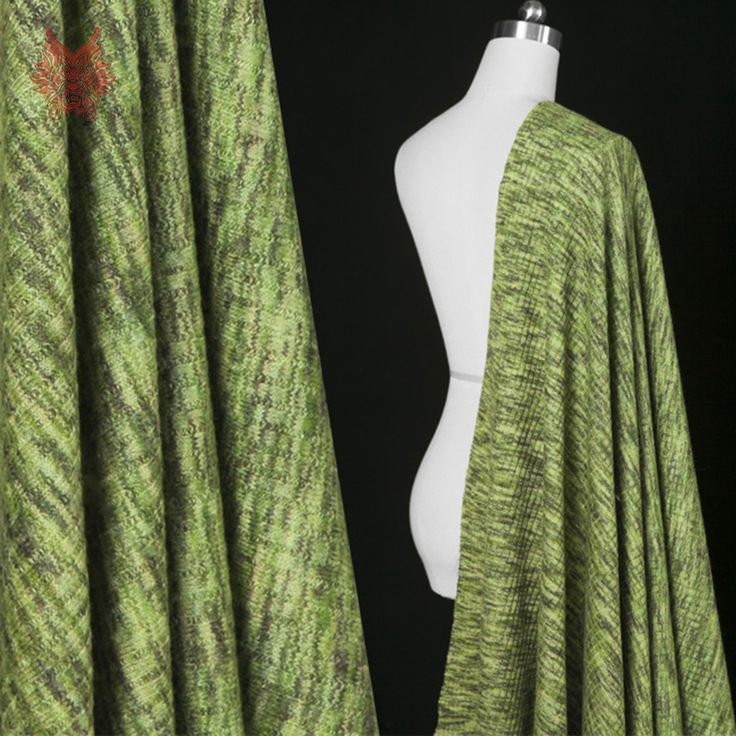 Дизайнер Американский стиль зеленая полоса шерсть трикотаж для зимы пальто шерсти стрейч ткань для шитья ткани ткани SP2606