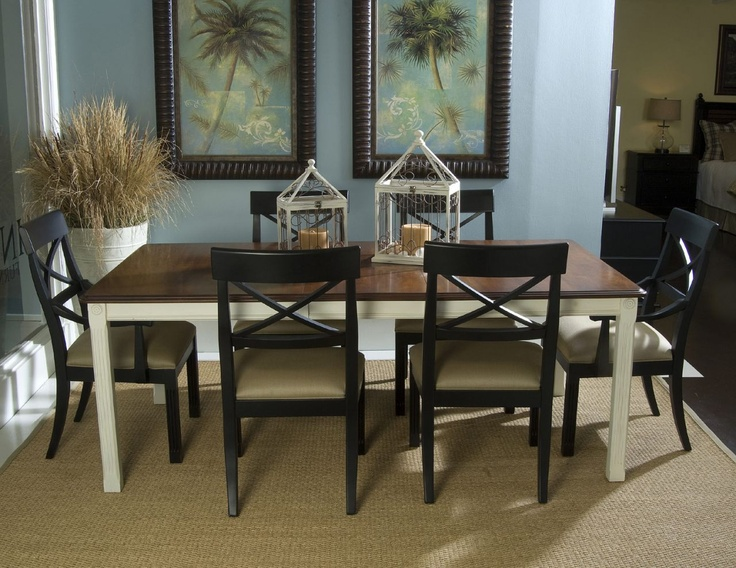 Home Gallery Furniture for Dining Room Sets, 7-pc Villages of Gulf Breeze Rectangular Leg Dining Table w/ Cherry Top Set