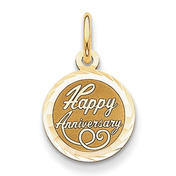 14k Gold Happy Anniversary Charm - Measures 21x13mm. Fine jewelry is authenticated with manufacturer metal stamp. Unconditional 45 day Full Money Back Guarantee and Two Year Free Repair Policy. Comes with a beautiful jewelry gift box ready for any gift giving occasion ; This item does not ship with a chain. Polished ; Flat back ; Engravable ; Faceted ; Laser Etched.