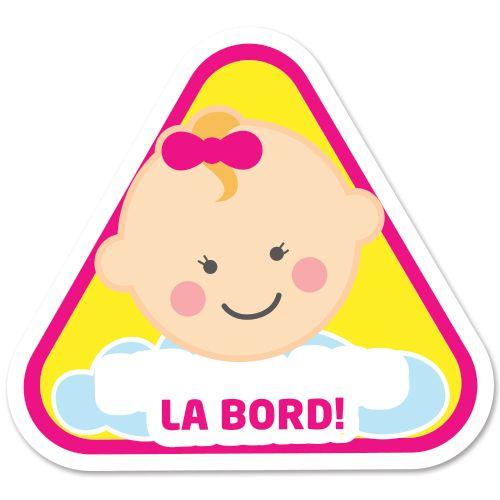 Autocolant (sticker) auto personalizabil ce reprezinta un bebelus fetita cu mesajul Bebe la bord.