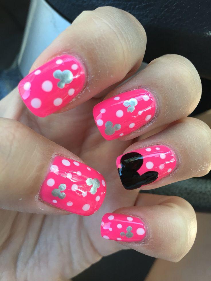 Disney nails, Mickey Mouse, polka dots, hot pink