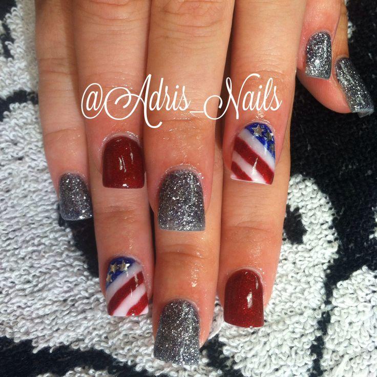 American flag acrylic nails! #forthofjuly #tobykeith #redwhiteandblue ...