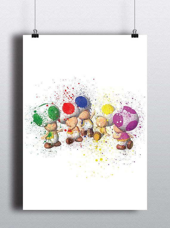 Mario Inspired Poster Print - Toads | Watercolour | A2 Size-Resizable | Digital Download | Video Game Art | Kids Room Art | Minimalist