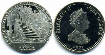 """Острова Кука 1 доллар 2007 """"Англия ждёт, что каждый человек выполнит то, что должен. Адмирал Нельсон спускается по лестнице."""