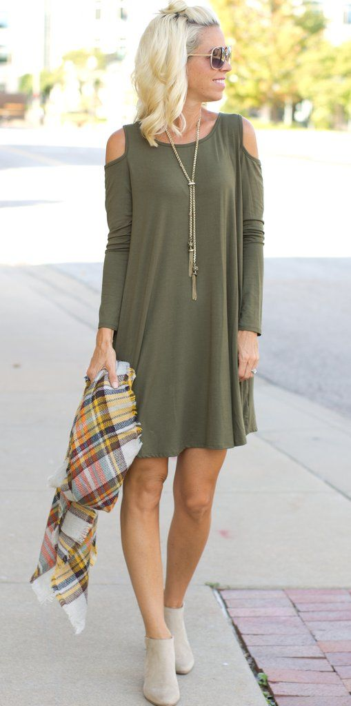 Olive Green Cold Shoulder Dress - www.shopcsgems.com
