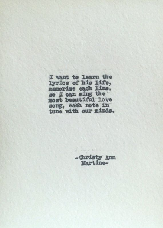 Gifts for Him Lyrics of His Life Poem Typed Poems by Christy Ann Martine - Cotton Anniversary Gifts - Husband - Poems