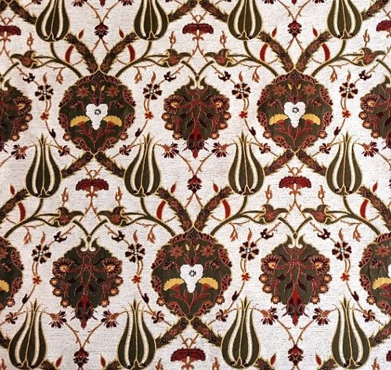Jacquard Chenille Upholstery Fabric Floral Fabric With Tulip