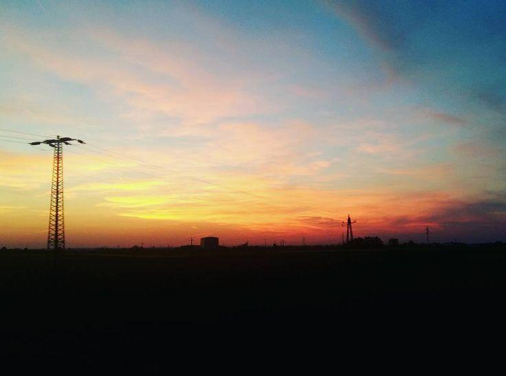 💛🌅🚅 Travelling to BP. #alföld #landscape #beautiful #sunset #sungoesdown #clouds #train #travelling #paradicsomszínűnaplemente