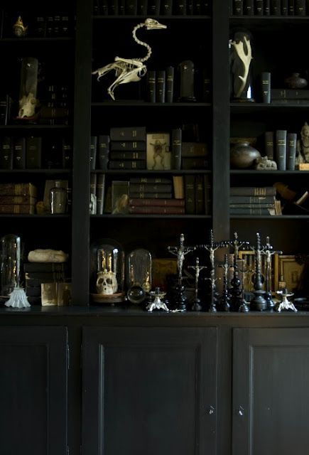 21 Cool Gothic Home Office And Library Décor Ideas : 21 Cool Gothic Home  Office And Library Décor Ideas With Dark Wooden Bookshelves Design