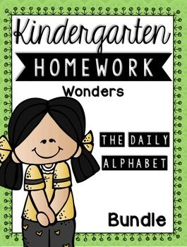 Kindergarten Homework Wonders Edition BUNDLE