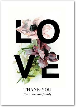 Gorgeous Love - Thank You Cards in Black | Baumbirdy
