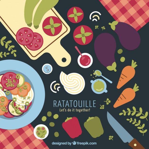 Ratatouille ingredients Background Free Vector