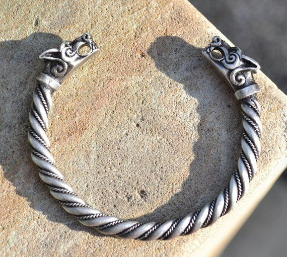 Argent Or Tête Loup Fenrir Viking Bracelet Jonc Deux Tête Bracelet Cosplay